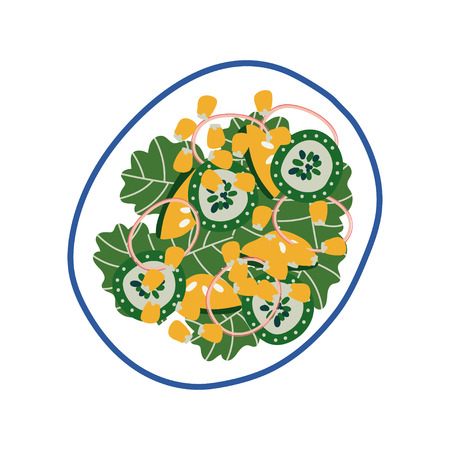Delicious Vegetarian Salad on Plate, Fresh Healthy Dish, Top View Vector Illustration on White Background.