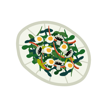 Delicious Salad with Greens, Eggs and Mushrooms on Plate, Fresh Healthy Dish, Top View Vector Illustration on White Background.