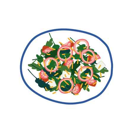 Delicious Salad with Feta Cheese, Onion, Tomatoes, Olives and Greens on Plate, Fresh Healthy Dish, Top View Vector Illustration on White Background. 일러스트