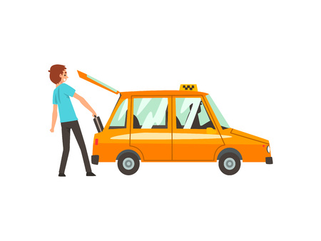 Taxi Service, Man Putting Luggage in Car Cartoon Vector Illustration on White Background.
