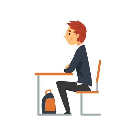 Diligent Student Sitting at Desk in Classroom, Side View, Schoolboy in Uniform Studying at School, College Vector Illustration on White Background. Illustration