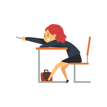 Smiling Female Student Lying on Desk in Classroom, Side View, Schoolgirl in Uniform Studying at School, College Vector Illustration on White Background.