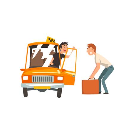 Servicio de taxi, conductor de coche hablando con pasajero masculino ilustración vectorial sobre fondo blanco.
