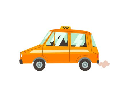 Yellow Taxi Car with Driver, Taxi Service Cartoon Vector Illustration on White Background.