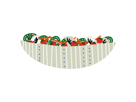 Delicious Salad with Mushrooms, Cucumbers and Tomatoes in Ceramic Bowl, Fresh Healthy Dish Vector Illustration on White Background. Illustration