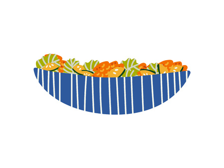 Delicious Vegetarian Salad in Ceramic Bowl, Fresh Healthy Dish Vector Illustration on White Background. Illustration