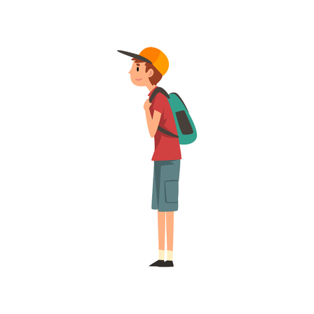 Young Man Standing with Backpack Vector Illustration on White Background. Stock Illustratie
