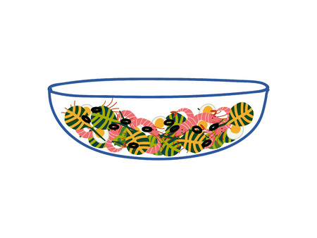 Delicious Salad with Shrimps in Glass Transparent Bowl, Fresh Healthy Dish Vector Illustration on White Background.