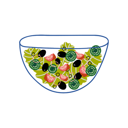 Delicious Vegetarian Salad with Lettuce, Tomatoes, Cucmbers and Olives in Glass Transparent Bowl, Fresh Healthy Dish Vector Illustration on White Background.