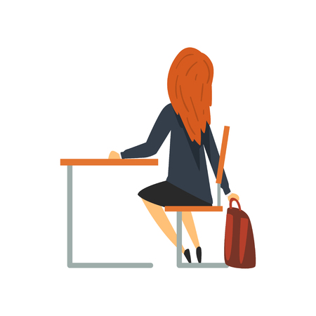 Female Student Sitting at Desk, Schoolgirl in Uniform Studying at School, College Vector Illustration on White Background.