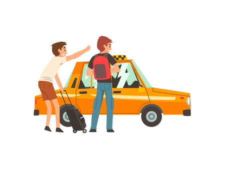 Servicio de taxi, dos hombres con maleta y mochila cogiendo la ilustración de Vector de dibujos animados de coche de taxi sobre fondo blanco.