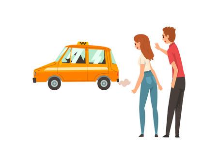 Servicio de taxi, pareja saludando cogiendo coche en la calle ilustración vectorial de dibujos animados sobre fondo blanco.