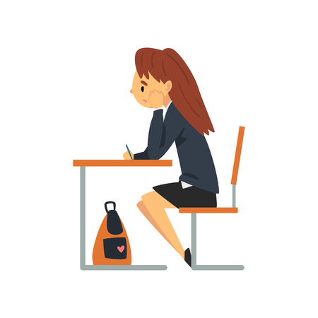 Bored Female Student Sitting at Desk in Classroom, Side View, Schoolgirl in Uniform Studying at School, College Vector Illustration on White Background. Illustration