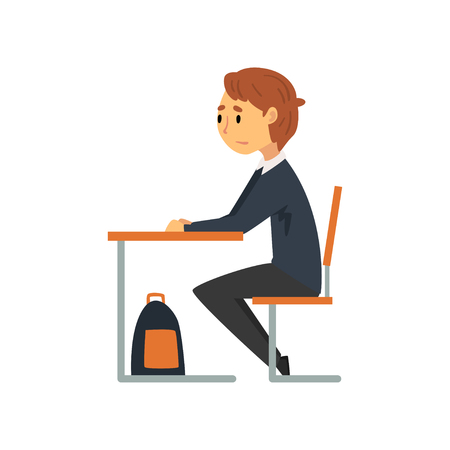 Clever Student Sitting at Desk in Classroom, Side View, Schoolboy in Uniform Studying at School, College Vector Illustration on White Background.