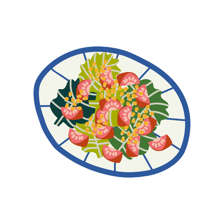 Delicious Vegetarian Salad on Plate, Fresh Healthy Dish, Top View Vector Illustration