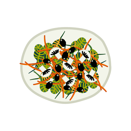 Delicious Salad with Mushrooms and Olives on Plate, Fresh Healthy Dish, Top View Vector Illustration on White Background.