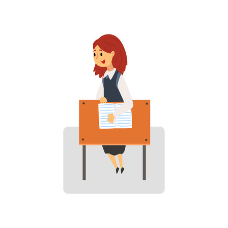 Female Student Sitting and Talking at Desk in Classroom, Schoolgirl Studying at School, College Vector Illustration on White Background. Ilustração