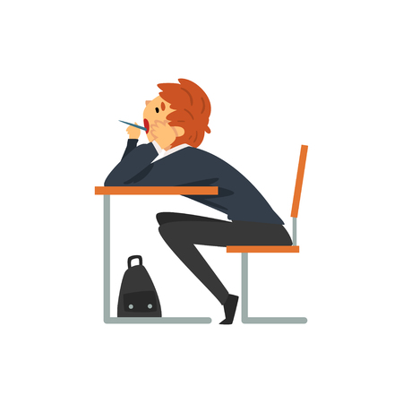 Bored Student Sitting and Yawning at Desk in Classroom, Side View, Schoolboy in Uniform Studying at School, College Vector Illustration on White Background. Çizim