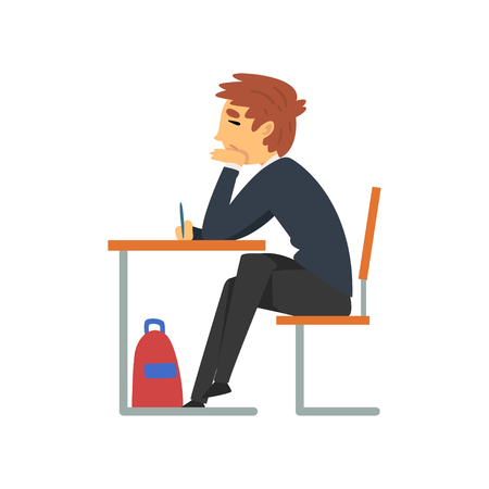 Male Student Sitting at Desk in Classroom with Closed Eyes, Side View, Schoolboy in Uniform Studying at School, College Vector Illustration on White Background.