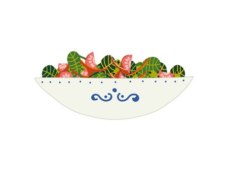 Delicious Vegetarian Salad with Green Leaves, Tomatoes and Sweet Pepper in Ceramic Bowl, Fresh Healthy Dish Vector Illustration