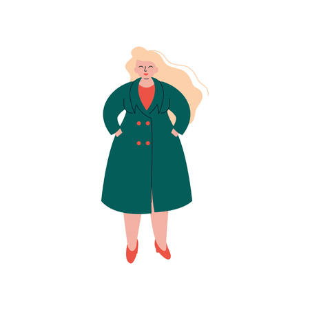 Attractive Blonde Curvy Girl in Fashion Trench Coat, Beautiful Plus Size Plump Woman Vector Illustration on White Background.
