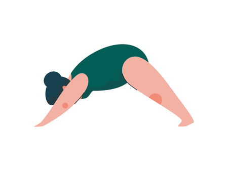 Beautiful Plus Size Curvy Woman in Adho Mukha Svanasana Position, Plump Girl in Swimsuit Practicing Yoga, Sport and Healthy Lifestyle Vector Illustration on White Background.