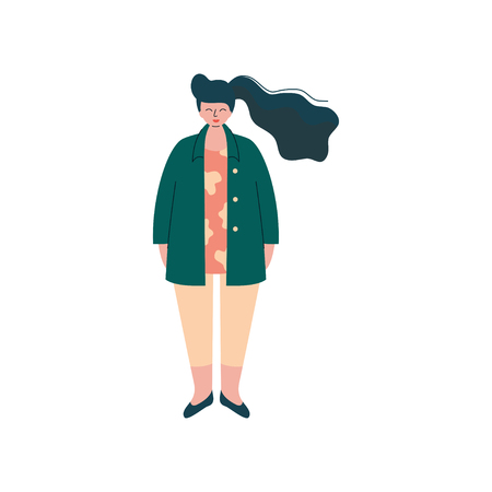 Brunette Curvy Girl in Fashion Trendy Clothes, Beautiful Plus Size Plump Woman Vector Illustration on White Background.