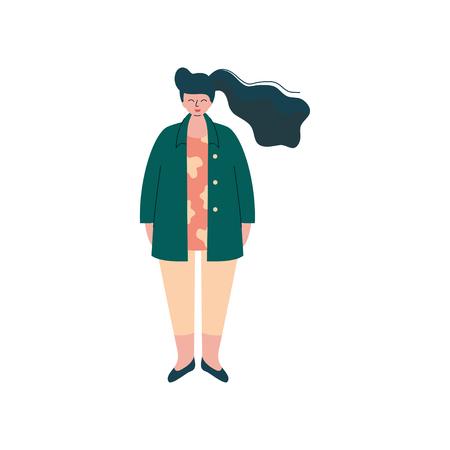 Brunette fille bien roulée dans des vêtements à la mode, belle taille plus femme dodue Vector Illustration sur fond blanc. Vecteurs