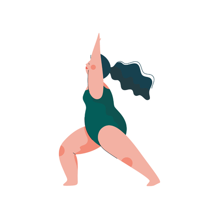 Beautiful Plus Size Curvy Woman in Virabhadrasana Position, Plump Girl in Swimsuit Practicing Yoga, Sport and Healthy Lifestyle Vector Illustration on White Background.