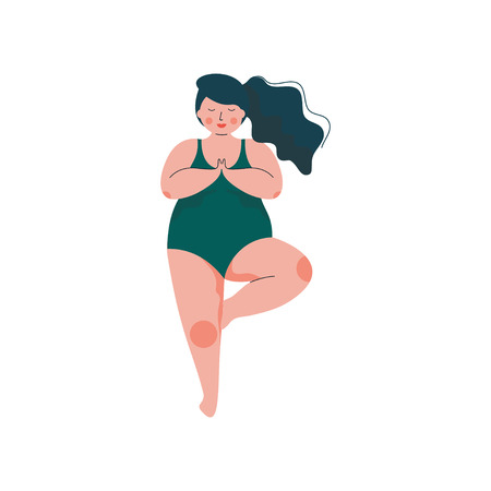 Beautiful Plus Size Curvy Woman in Vrikshasana Position, Plump Girl in Swimsuit Practicing Yoga, Sport and Healthy Lifestyle Vector Illustration on White Background.