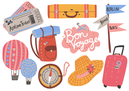 Travel Objects Collection, Airplane Tickets, Backpack, Compass, Hot Air Balloon, Hat, Signpost, Time to travel, Summer Vacation Vector Illustration on White Background.