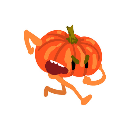 Angry Pumpkin Running, Screaming Vegetable Character with Funny Face Vector Illustration on White Background.