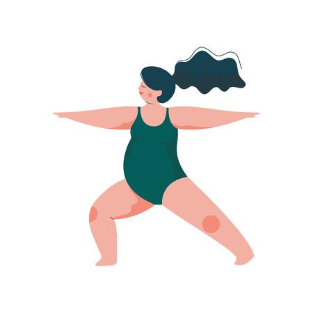 Schöne kurvige Frau in Übergröße in Virabhadrasana-Kriegerposition, pralles Mädchen im Badeanzug, das Yoga, Sport und gesunden Lebensstil Vektor-Illustration auf weißem Hintergrund praktiziert.
