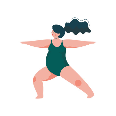 Beautiful Plus Size Curvy Woman in Virabhadrasana Warrior Position, Plump Girl in Swimsuit Practicing Yoga, Sport and Healthy Lifestyle Vector Illustration on White Background.