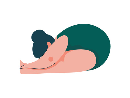 Beautiful Plus Size Curvy Woman in Paschimottanasana Position, Plump Girl in Swimsuit Practicing Yoga, Sport and Healthy Lifestyle Vector Illustration on White Background.