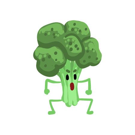 Caractère de légumes brocoli en colère avec Funny Face Vector Illustration sur fond blanc.