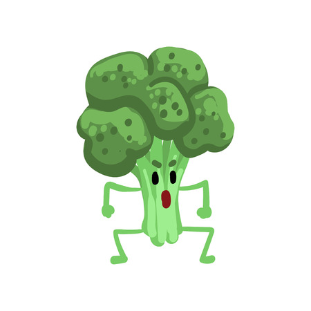Angry Broccoli Vegetable Character with Funny Face Vector Illustration on White Background.