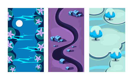 Collection of 3 colorful backgrounds for online mobile game. Cartoon scenes with blue river, dark path and ice islands. Vertical landscape illustrations. Gaming interface. Isolated flat vector design.
