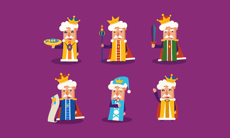 Set of king in different actions. Funny cartoon character. Ruler of the Kingdom. Graphic elements for children book or mobile game. Colorful flat vector illustrations isolated on purple background.
