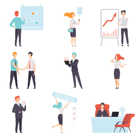 Business people set, successful business characters at work in office vector Illustration isolated on a white background. Stock Illustratie