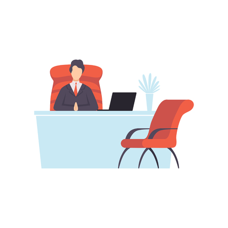 Businessman working on a laptop computer, successful business character at work vector Illustration isolated on a white background. Çizim
