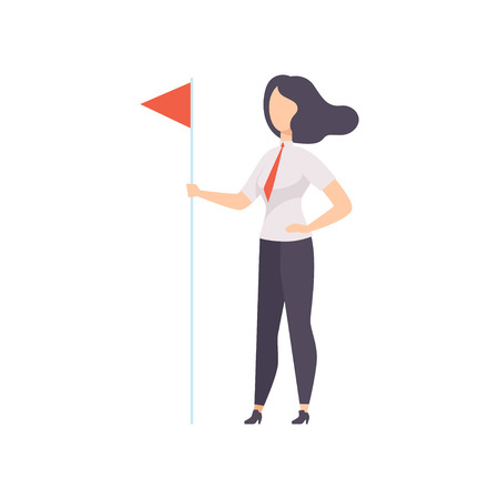 Successfull business woman standing with red flag, business character at work vector Illustration isolated on a white background. Ilustração