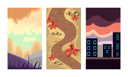 Collection of 3 vertical backgrounds for online mobile game. Scenes with mountain landscape, dirty path and city buildings. Cartoon outdoor illustrations. Flat vector design for gaming interface.