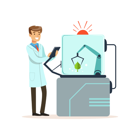Male scientist and robotic arm conducting experiments in a modern laboratory, robotic arm working with tree leaf, artificial intelligence concept vector illustration Ilustração Vetorial
