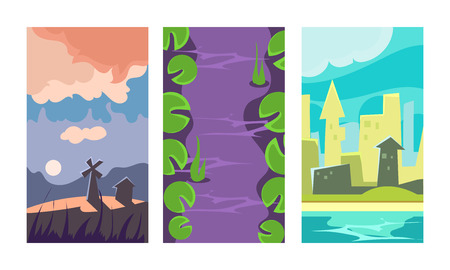 Set of 3 vertical backgrounds for online mobile game. Colorful cartoon scene with windmill, purple river with green leaves and cityscape. Gaming interface. Flat vector illustrations isolated on white.