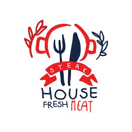 Steak house, fresh meat vintage label colorful hand drawn vector Illustration