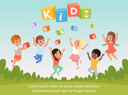 Group of kids with happy faces. ABC cubes. Cartoon children. Blue sky and nature. Flat vector poster for speech therapy, child development center or kindergarten.