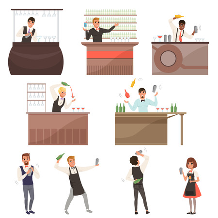 Set of bartenders at work standing at the bar counter surrounded with bottles and glasses. Making cocktails and pouring glass with drinks. Cafe or bar people barmen characters. Flat cartoon vector