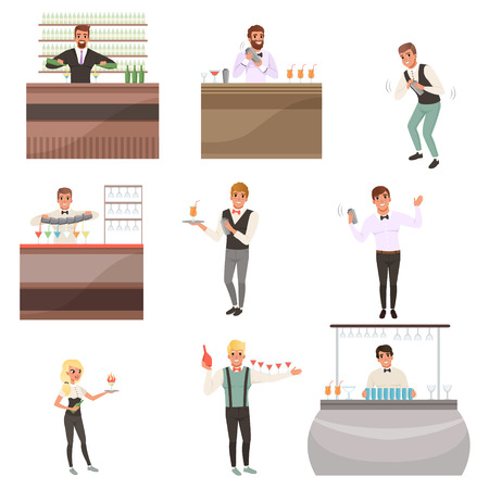 Young bartenders standing at the bar counter surrounded with bottles and glasses. Barmen mixing, pouring and serving alcohol drinks. People characters set working in cafe or bar. Flat cartoon vector Illustration