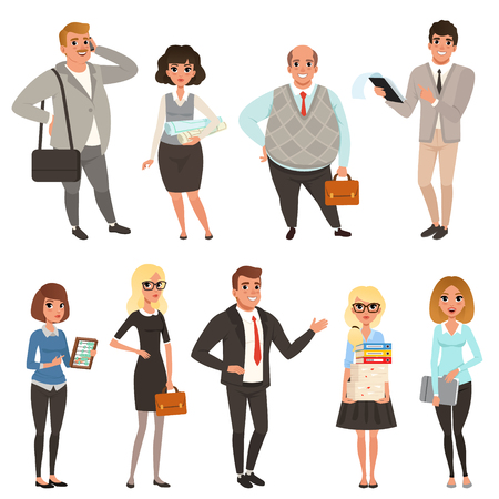 Cartoon set of office managers and workers in different situations. Business people. Men and women characters in casual clothes. Colorful vector illustration in flat style isolated on white background Çizim